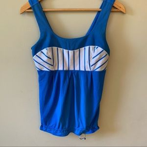 Lululemon (6) Tame Me Tank Blue Stripe Drawstring